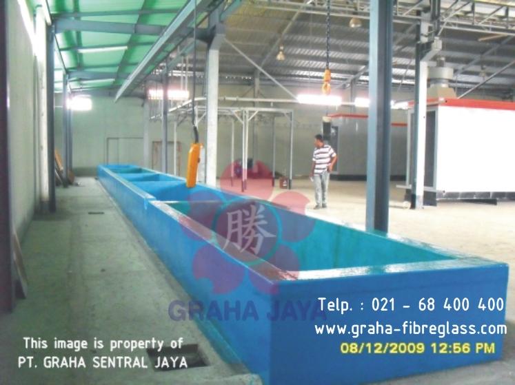 Pelapisan fibreglass bak beton tahan kimia