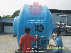 tangki air silinder vertikal fiberglass