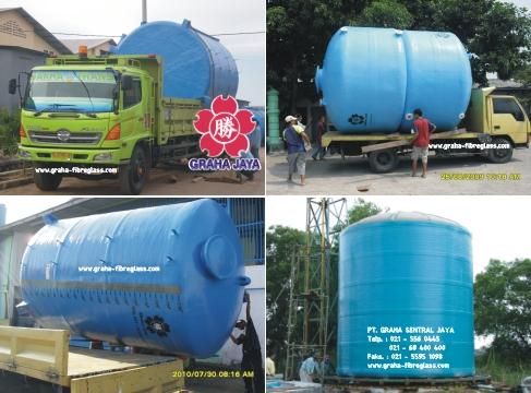 Tangki Air Fiberglass Silinder Vertikal Ukuran Besar